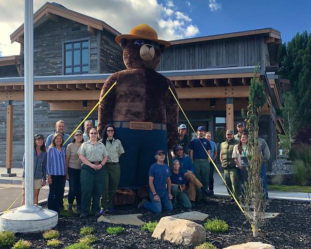 Bridger-Teton National Forest staff celebrating Smokey Bear's 75th