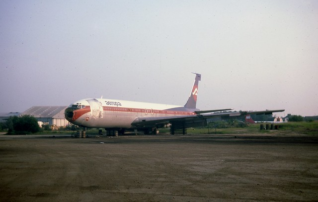 On the blocks! The sad remains of N716HH Aeropa Boeing 707-321 seen at London Stansted