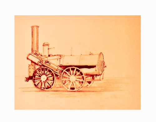 Early Locomotive. Coloured pencil drawing on card, by jmsw.
