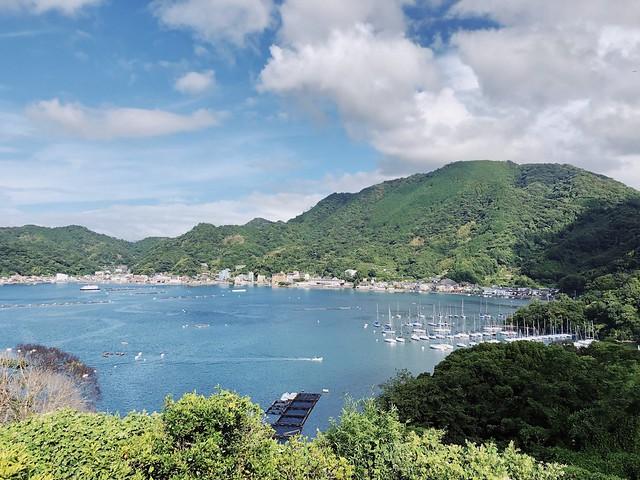 長井崎中学校山頂看沼津港灣景色