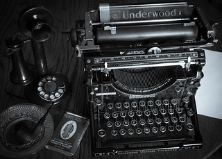 Underwood Nº 4 Typewriter and Western Electric Candlestick Phone