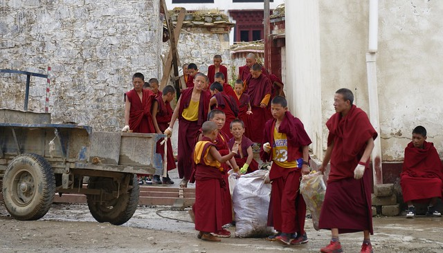 Child monks cleaningup, Tibet 2018