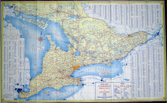Road Map of the Province of Ontario 1956 - Discover CABHC