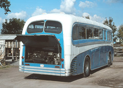 AndrewHA's posted a photo:Foden Motor Works Band . Sandbach , Cheshire . OLG855. Foden  PVRF6  -  Plaxton Venturer C33C from the back . New during September-1951 .Foden's Sandbach Factory , Cheshire . Friday lunchtime 28th-September-1979 .