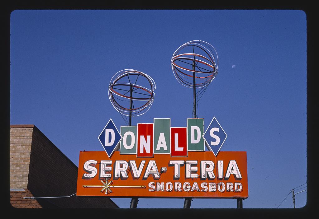 Donald's Serva-Teria Restaurant sign, Route 54, Pratt, Kansas (LOC)