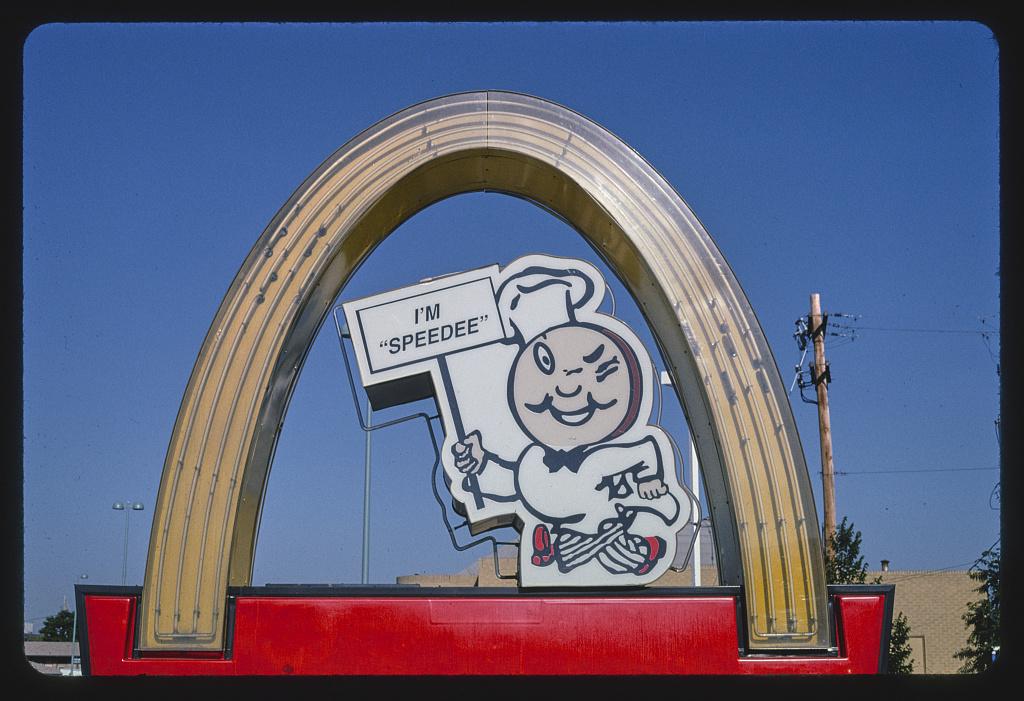 McDonald's Restaurant sign, detail, Colfax Avenue, Route 40, Aurora, Colorado (LOC)
