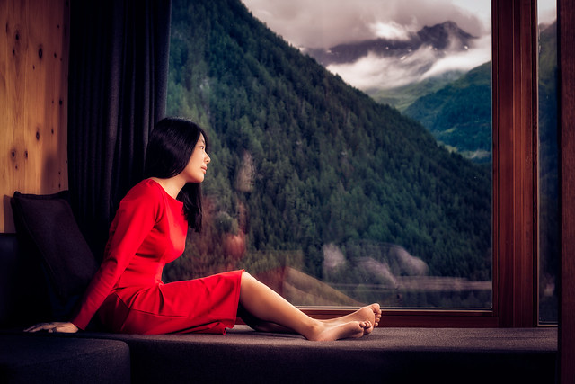 Mountain lodge...and a red dress