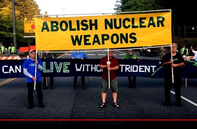 David Swanson: Nukes--What Are They Good For? + Flash Mob Blocks Nuclear Submarine Base!