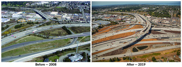 Before and After photo of the I-5 and SR 16 interchange