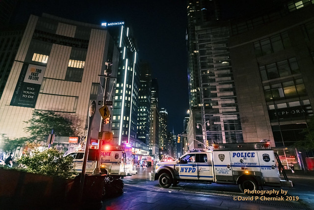 NYC Blackout - NYPD Police Emergency Sevice on Columbus Circle Blocking 8th Ave. Time Warner Center Rt Still Very Dark (2590) Dave's Birthday NYC 7-13-2019.