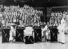 Members of the USS Arizona (BB 39) dance band pause for a photo at Pearl Harbor's Bloch Arena during the Battle of Music semifinal on Nov. 22, 1941. (U.S. Navy photo)