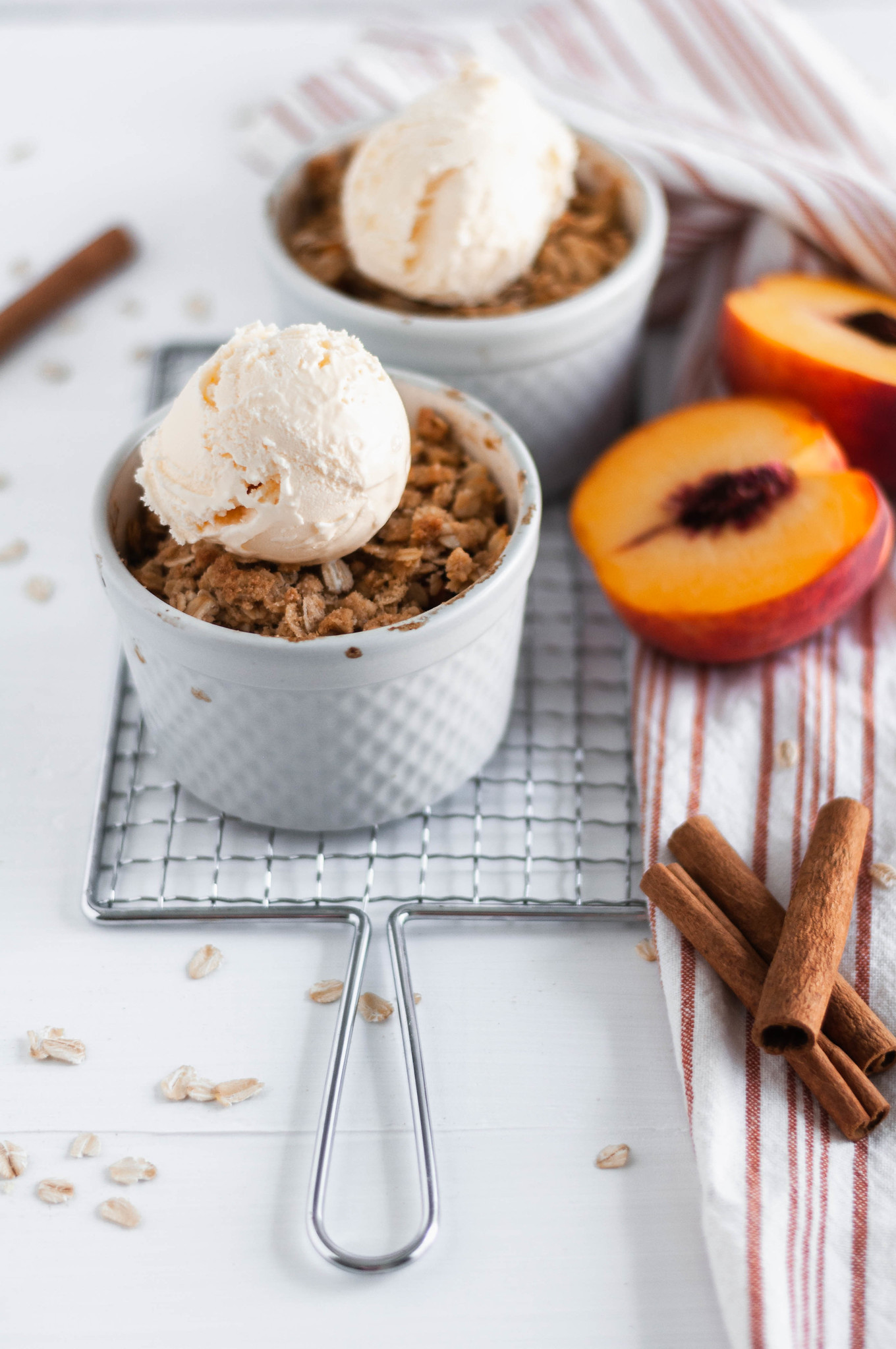 Want dessert but not tons of leftovers? Make this Small Batch Peach Crisp recipe which yields two perfect servings done in less than 45 minutes.