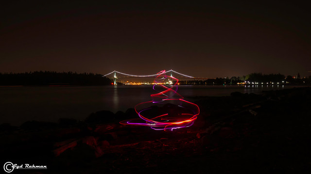 Lions Gate Bridge and Light Painting , West Vancouver, BC, Canada