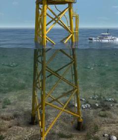 彰芳環差報告新增之三腳套管風機基樁。圖片來源:彰化彰芳離岸風力發電計畫環差報告。