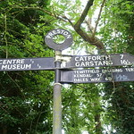Signpost at the end of the Lancaster Canal at Preston