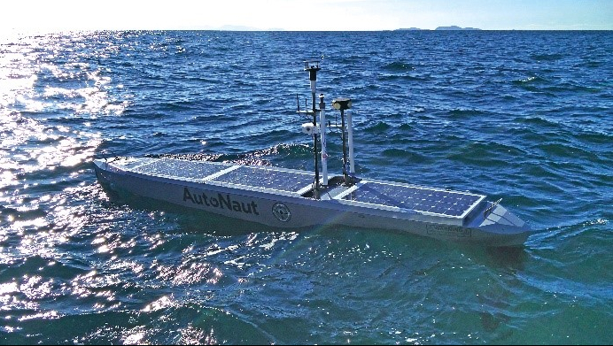 This AutoNaut wave-propelled unmanned surface vehicle helps researchers to investigate passive acoustic monitoring.
