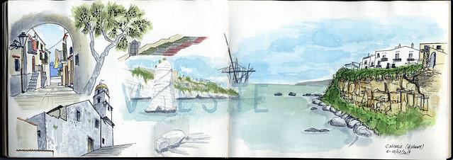 Skecthnotes/watercolor of Vieste (Puglia, Italy)