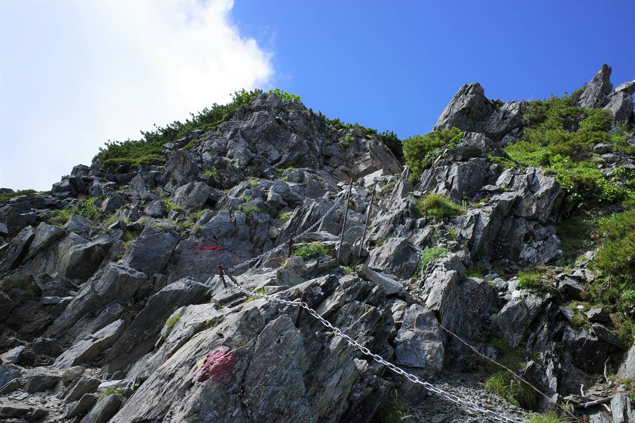 南アルプス北岳 岩場の登山道