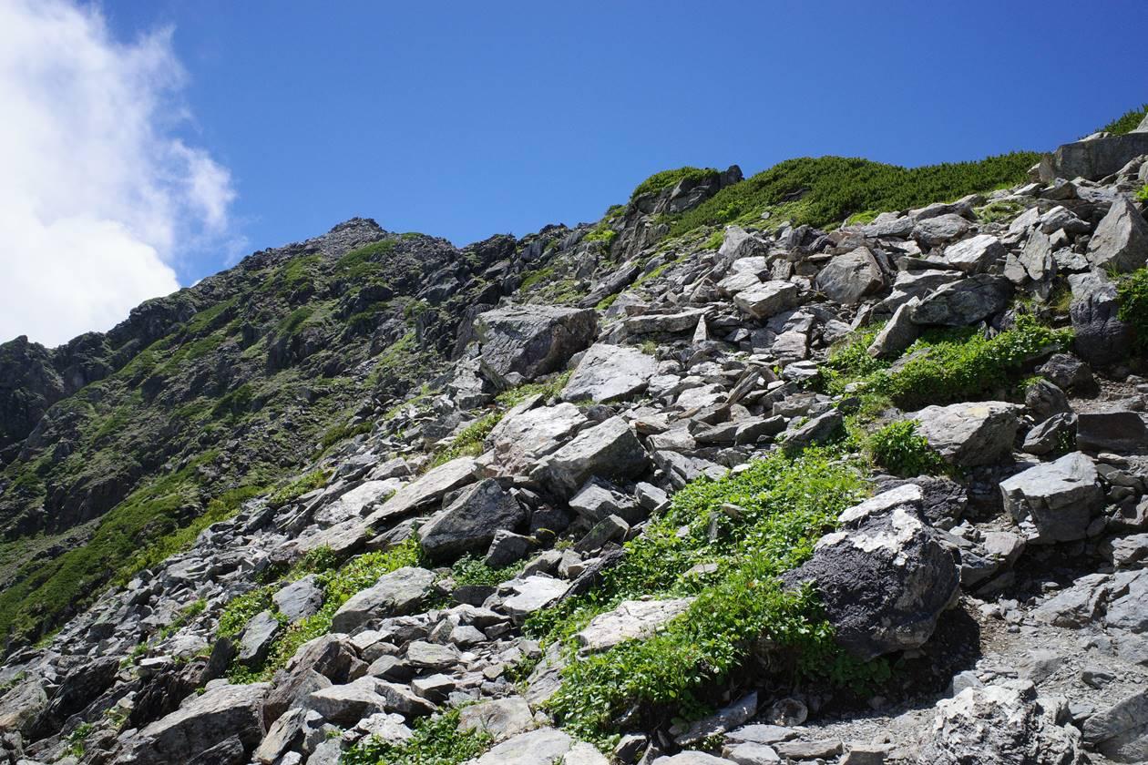 北岳 山頂の岩稜帯