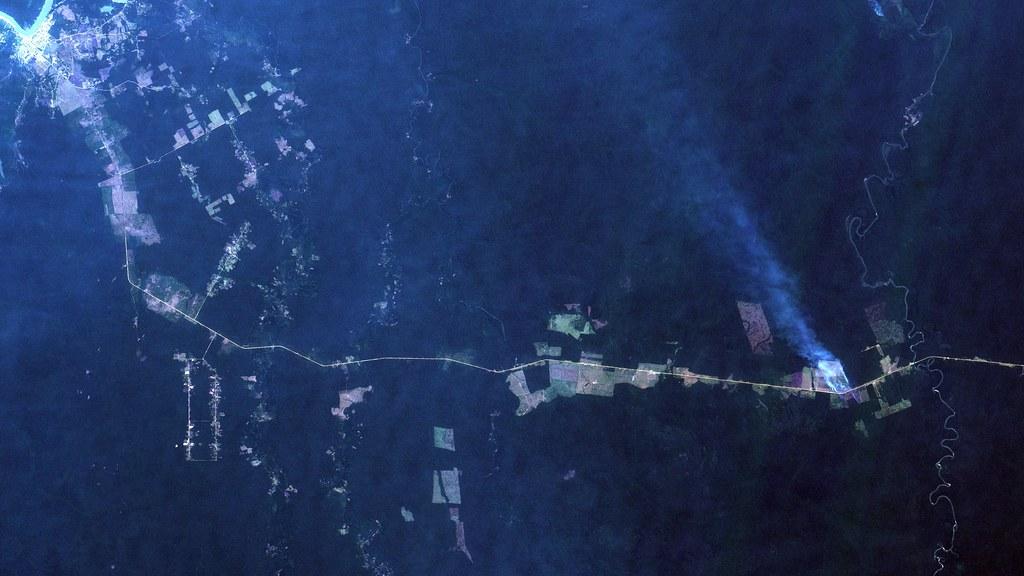 """Queimada em Canutama, AM, ás margens da Rodovia Transamazônica / Activelly burning fire yesterday at Canutama, along Transamazônica """"highway"""""""