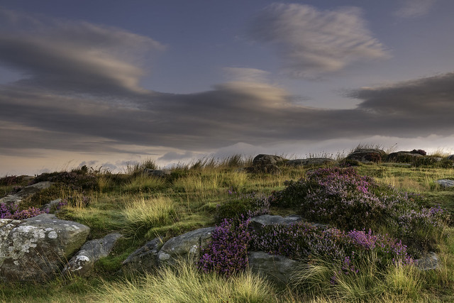 Early morning sky, heathers and gritstone outcrops at Baslow Edge