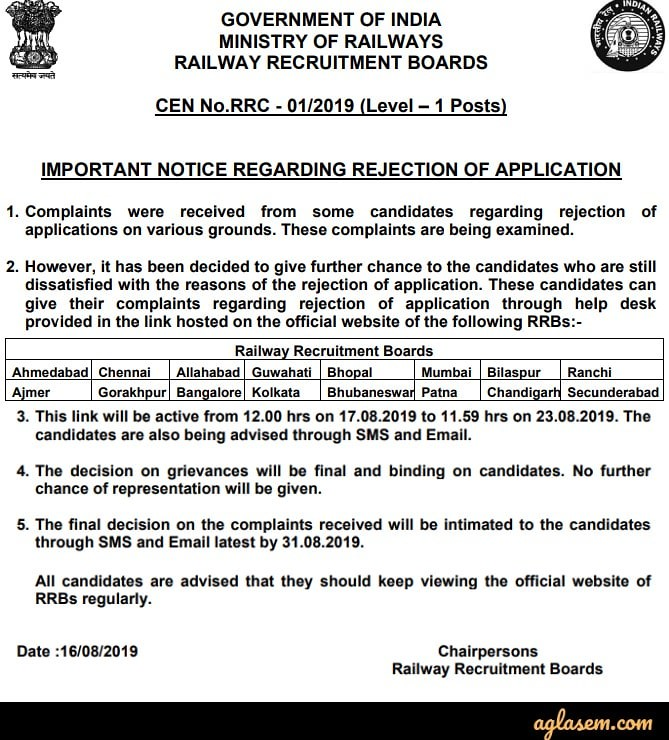 RRC Group D Application Status 2019 (Out) - Final Status for