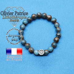 Bracelet bornite bleu et or et cube croix en argent 925