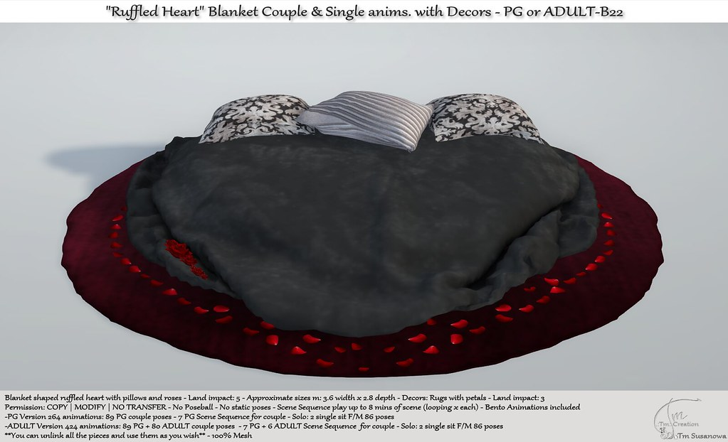 ".:Tm:.Creation  ""Ruffled Heart"" Blanket with anims. & Decors B22 - TeleportHub.com Live!"