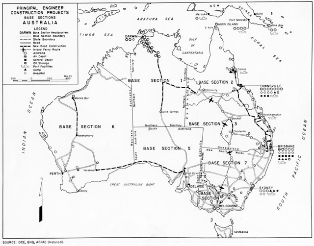 Map of Australia during WWII