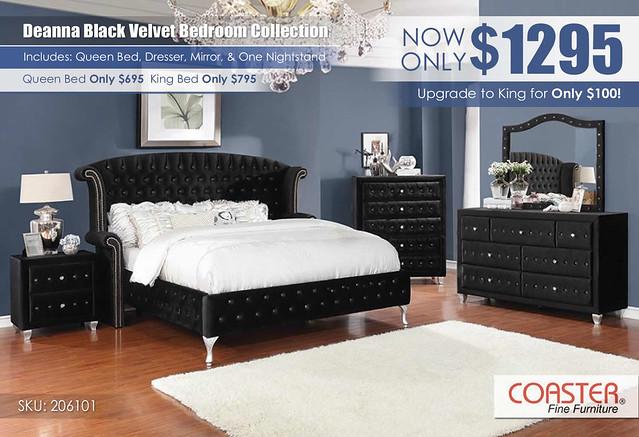 Deanna Black Velvet Bedroom Set by Coaster_206101