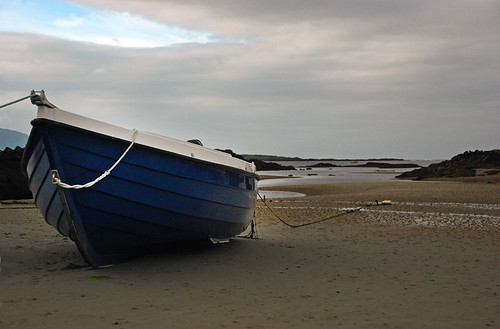 A boat on Ardara Beach in Ireland