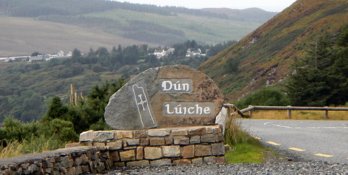 Dun Luiche sign on the pass to Glenveagh National Park in Ireland