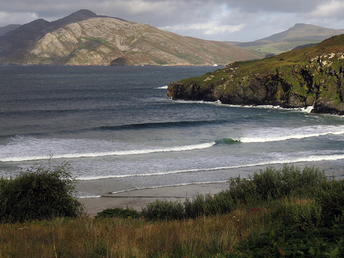 Surf (and surfers) at Knockalla Beach in Ireland