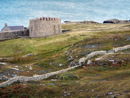 Abandoned castle ruin on the Inishowen Peninsula in Ireland