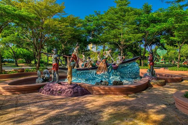 Sculpture and trees in Muang Boran, Samut Phrakan, Thailand