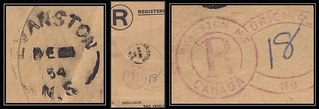 Nova Scotia / Cape Breton Postal History - 21 December 1954 - EVANSTON (Richmond County), N.S. (split ring / broken circle cancel / postmark) with EVANSTON, N.S. (registered keyhole marking on piece)