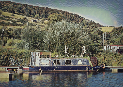 bowling scotland boat canal forthandclydecanal water bicycle hills trees sky vivid colour skeletons outdoor art artwork