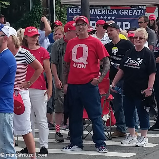 QAnon in red shirt