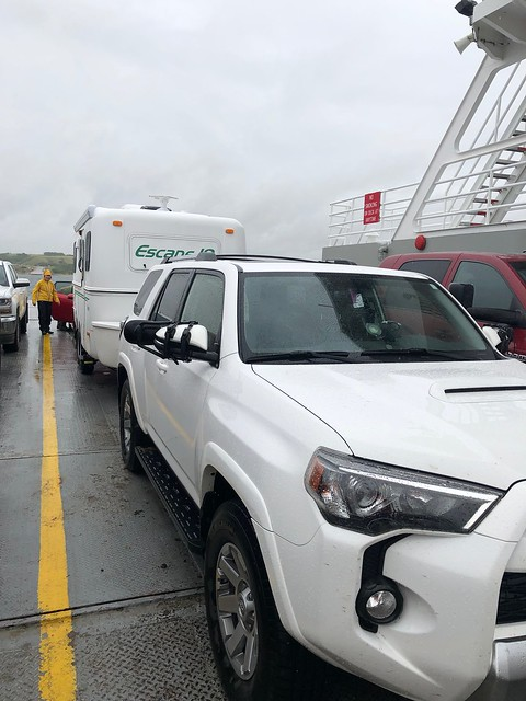 Saskatchewan Landing - cars on the ferry