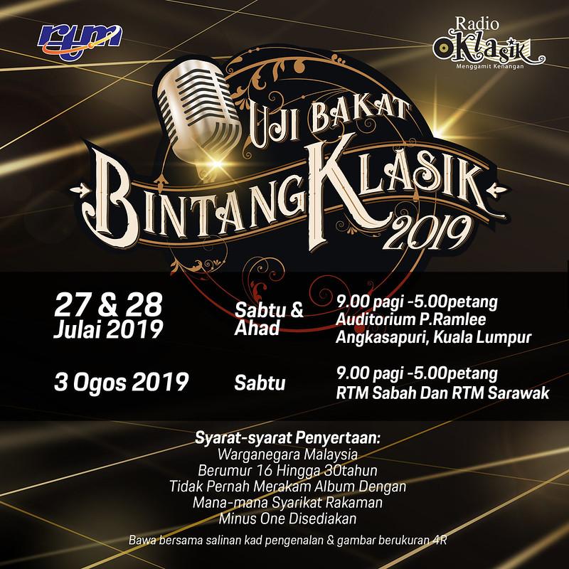 Jom Sertai Uji Bakat Bintang Klasik 2019