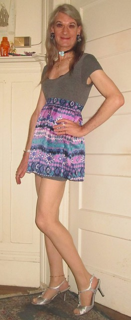 Grey dress with funky pattern skirt overlay