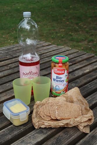 Mittagspicknick mit Würstchen, Brot und Senf