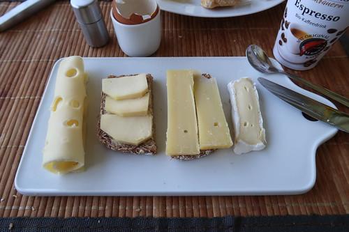 Diverse Käse auf Brot