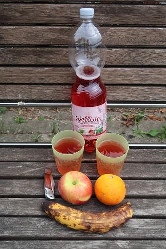 Obst und Erfrischungsgetränk mit Kirsche, Ginkgo und Ginseng Geschmack