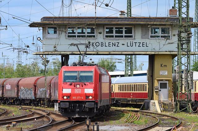 Starting the journey ... Deutsche Bahn 185 271-4 with a cargo train in Koblenz Luetzel, Germany