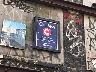Curfew sign in Spitalfields