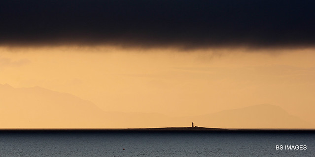 """""""After the rain""""..... 20 minutes after the most horrendous rain tonight you can walk out and be met with this stunning light on the Lady Isle and Arran,Prestwick,South Ayrshire,Scotland. 16/8/19"""