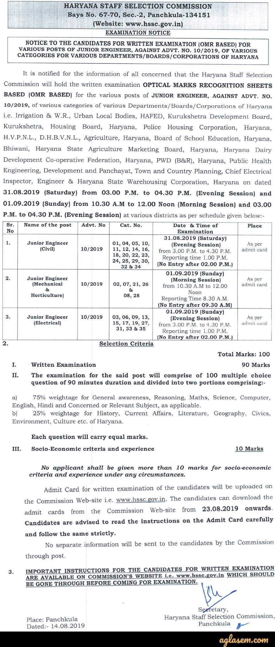 HSSC JE 2019 Exam Notice