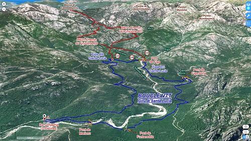 Photo 3D Géoportail du secteur du Haut-Cavu avec le tracé du Giru di Santa Lucia (bleu) et des chemins RG et RD du Finicione (rouge)