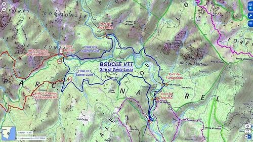 Carte IGN du secteur du Haut-Cavu avec le tracé du Giru di Santa Lucia (bleu) et des chemins RG et RD du Finicione (rouge)